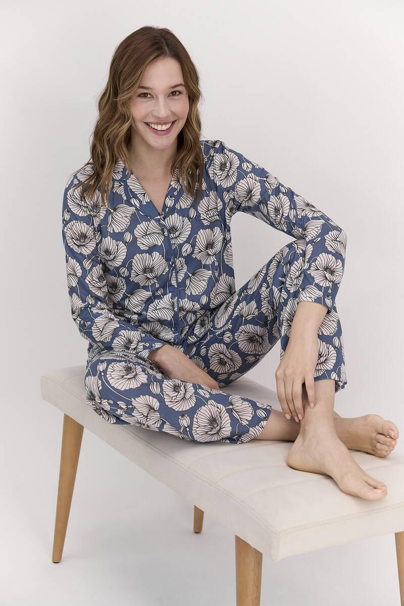 Pierre Cardin - Pierre Cardin Çiçek Desenli İndigo Kadın Gömlek Pijama (1)