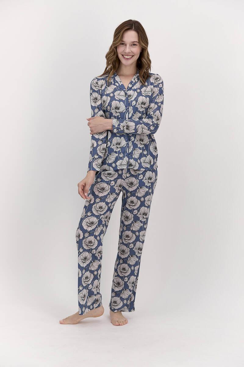 Pierre Cardin - Pierre Cardin Çiçek Desenli İndigo Kadın Gömlek Pijama