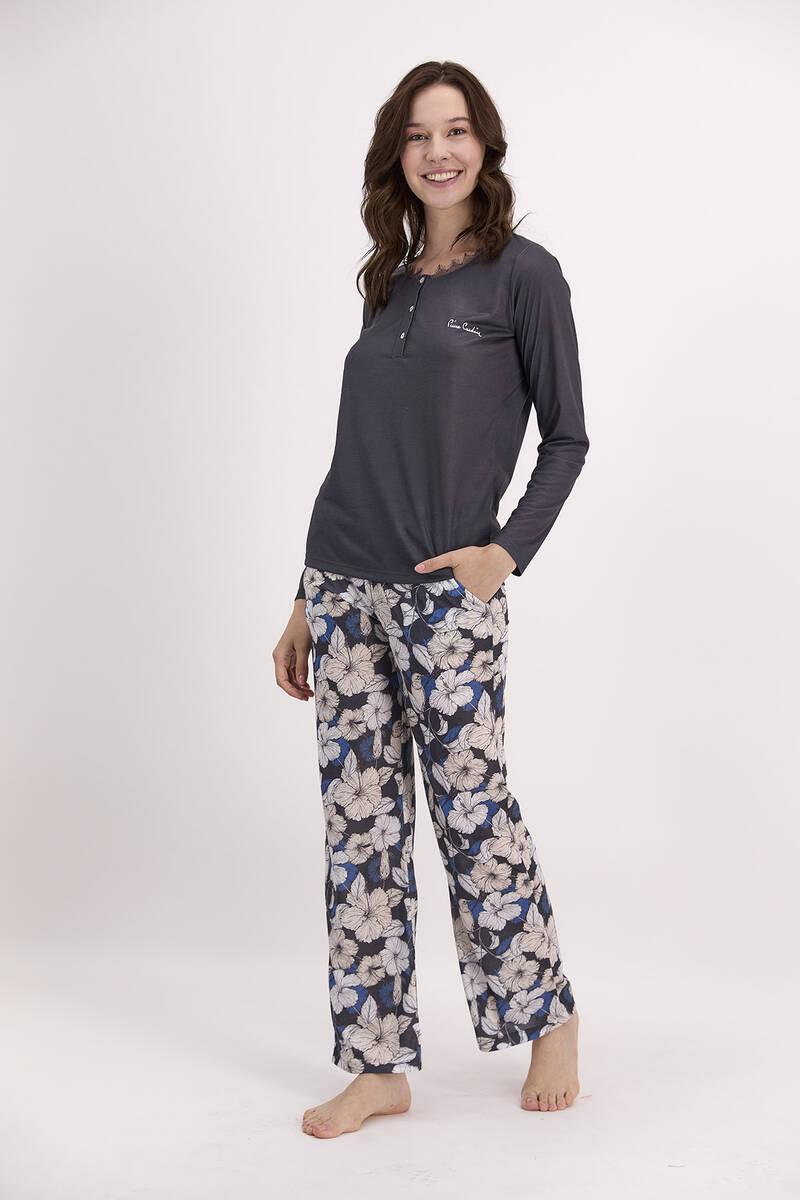 Pierre Cardin - Pierre Cardin Çiçek Desenli Lacivert Kadın Düğmeli Pijama Takımı