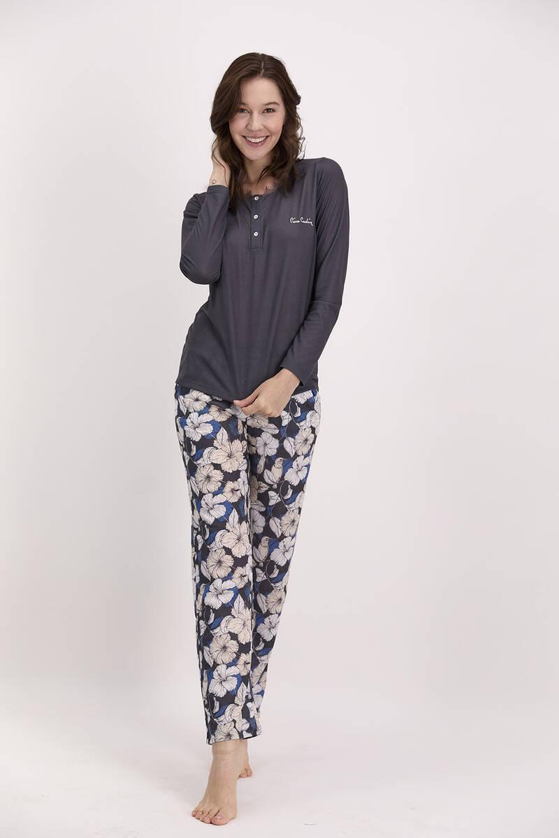Pierre Cardin - Pierre Cardin Çiçek Desenli Lacivert Kadın Düğmeli Pijama Takımı (1)