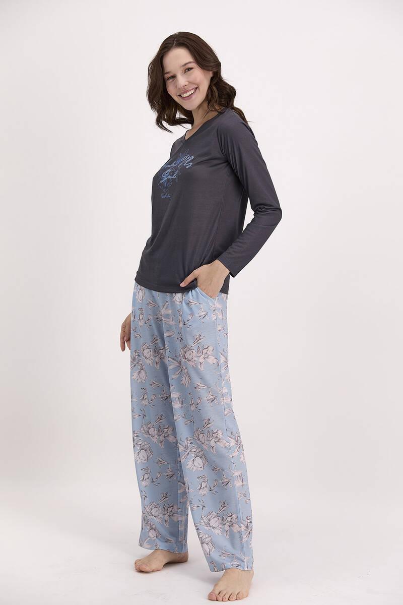 Pierre Cardin - Pierre Cardin Çiçek Desenli Lacivert Kadın Gömlek Pijama Takımı