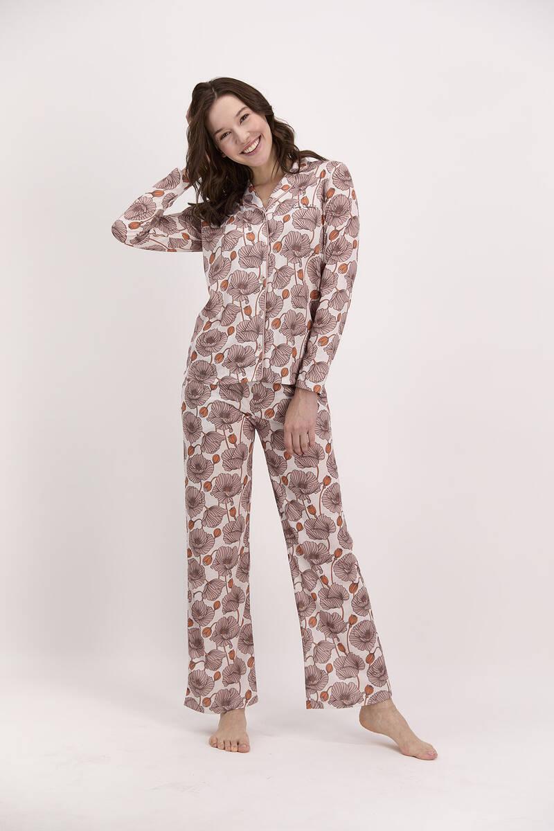 Pierre Cardin - Pierre Cardin Çiçek Desenli Vizon Kadın Gömlek Pijama
