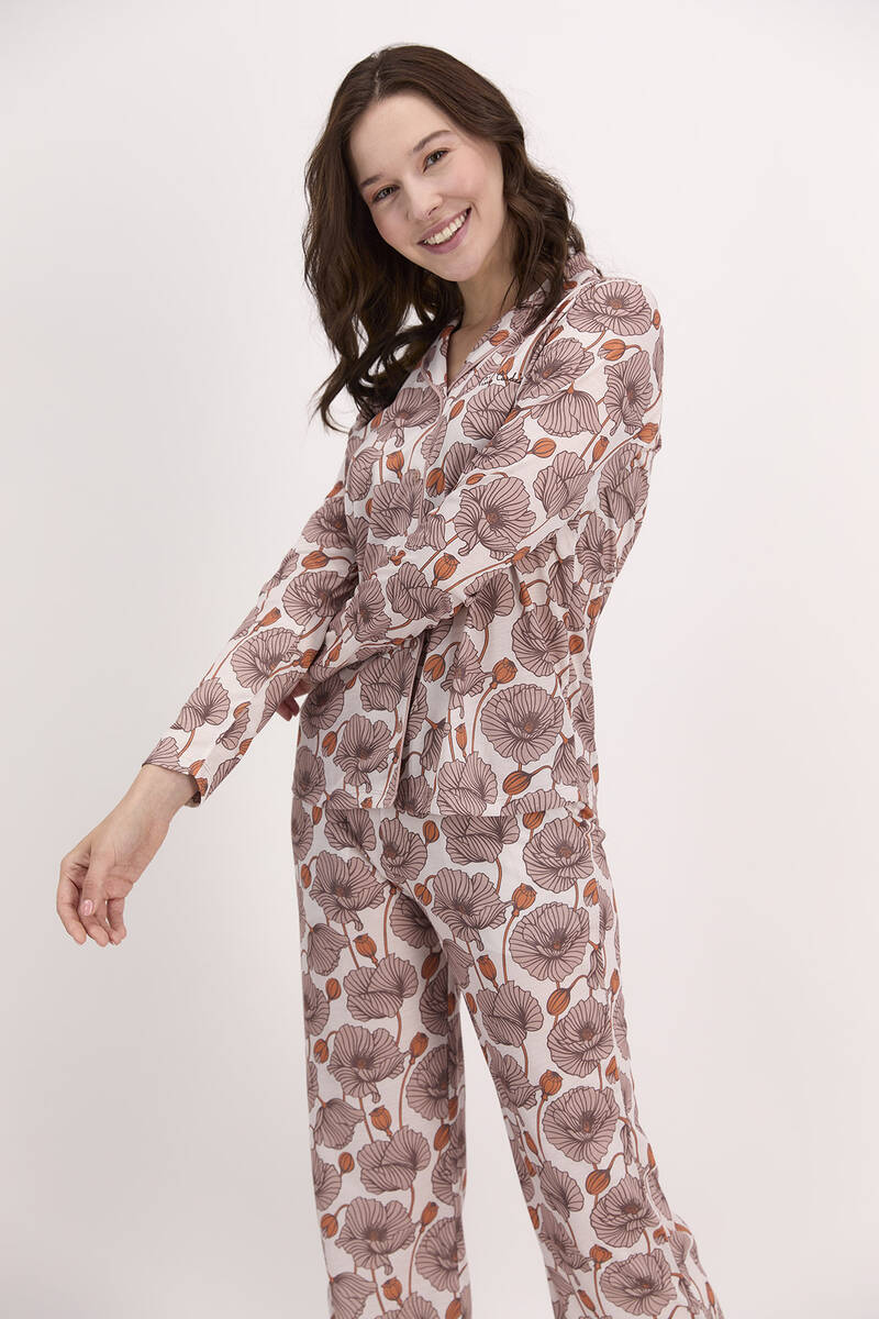 Pierre Cardin - Pierre Cardin Çiçek Desenli Vizon Kadın Gömlek Pijama (1)