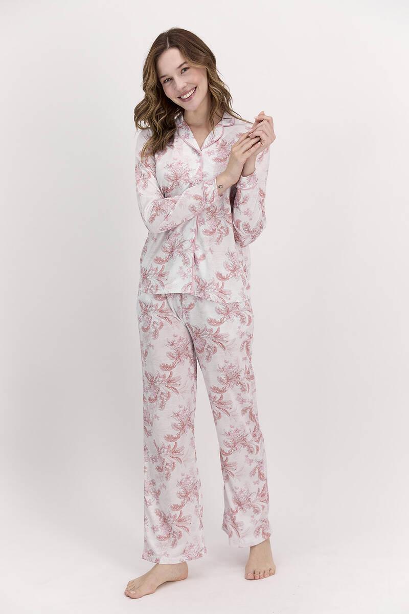 Pierre Cardin - Pierre Cardin Çiçekli Açık Gül Kurusu Kadın Gömlek Pijama Takımı
