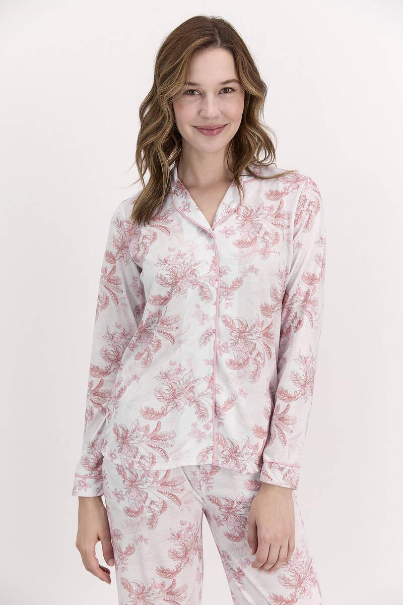 Pierre Cardin - Pierre Cardin Çiçekli Açık Gül Kurusu Kadın Gömlek Pijama Takımı (1)