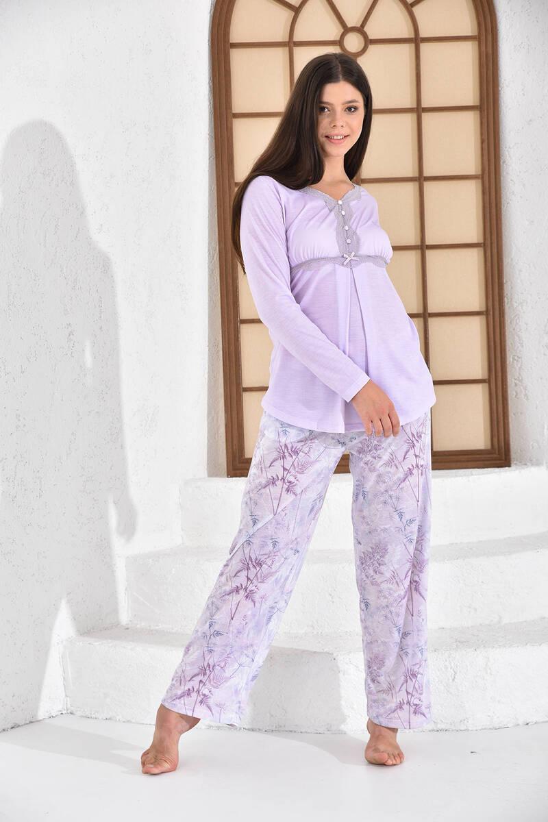 Pierre Cardin - Pierre Cardin Çiçekli Açık Lila Kadın Geniş Paça Lohusa Pijama Takımı