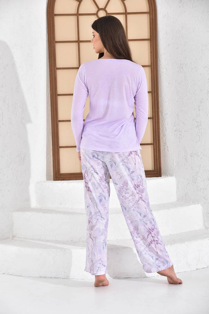 Pierre Cardin - Pierre Cardin Çiçekli Açık Lila Kadın Geniş Paça Lohusa Pijama Takımı (1)