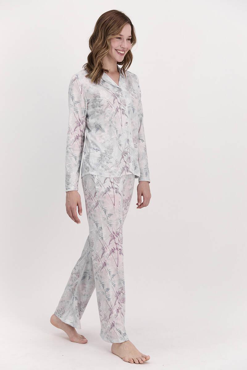 Pierre Cardin - Pierre Cardin Çiçekli Açık Lila Kadın Gömlek Pijama Takımı