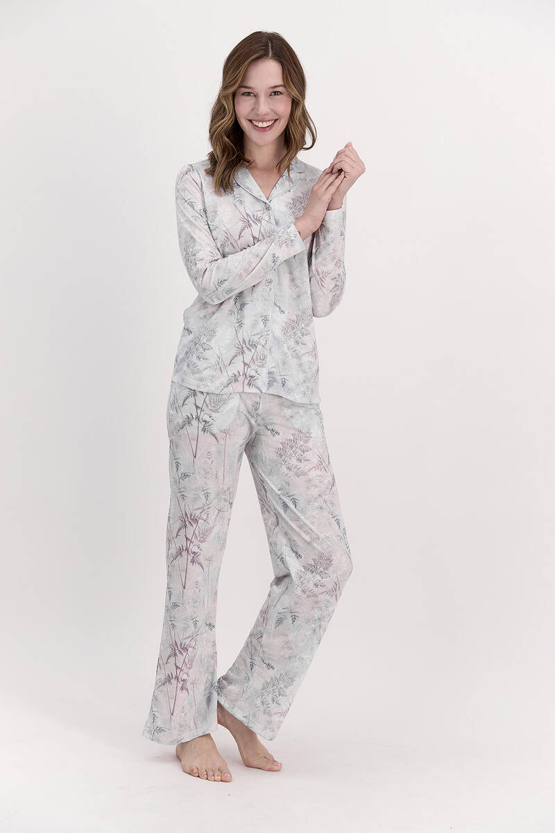 Pierre Cardin - Pierre Cardin Çiçekli Açık Lila Kadın Gömlek Pijama Takımı (1)