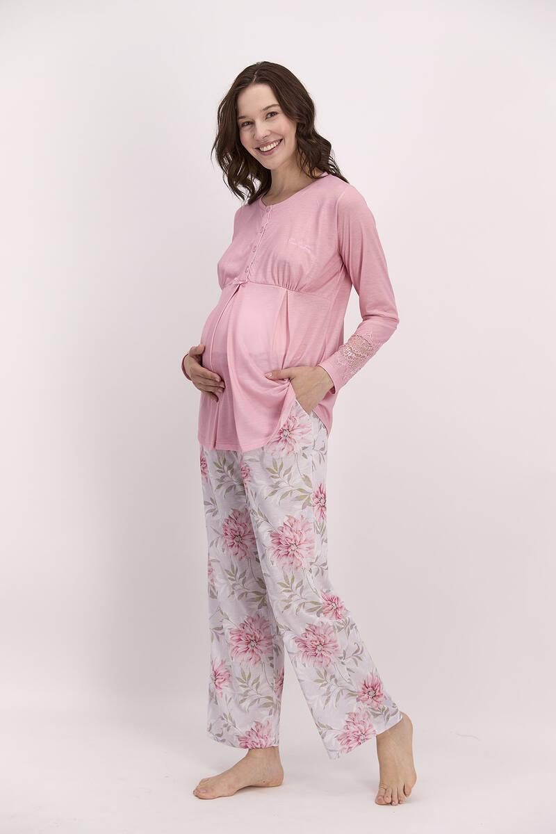 Pierre Cardin - Pierre Cardin Çiçekli Açık Pembe Kadın Geniş Paça Lohusa Pijama Takımı