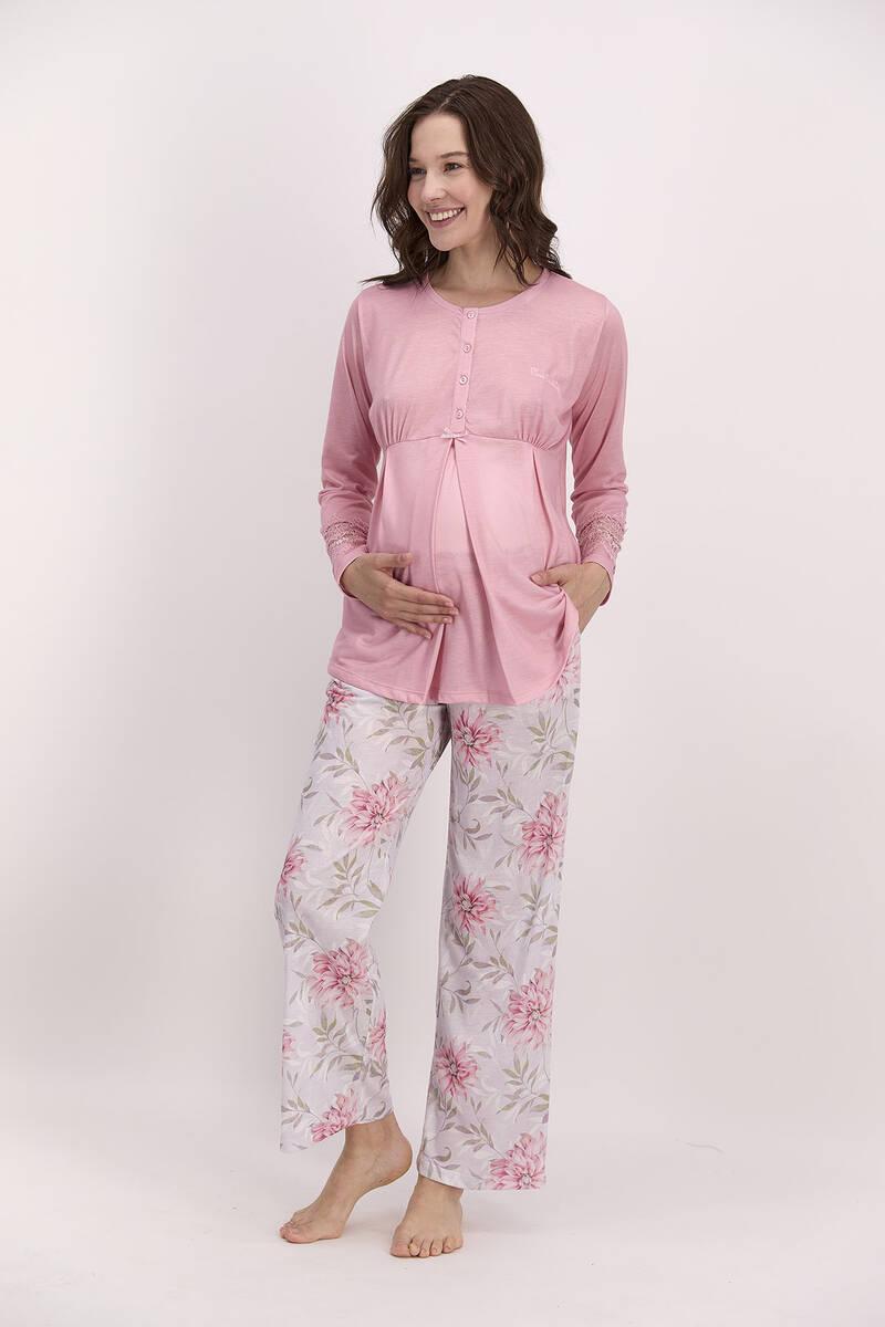 Pierre Cardin - Pierre Cardin Çiçekli Açık Pembe Kadın Geniş Paça Lohusa Pijama Takımı (1)