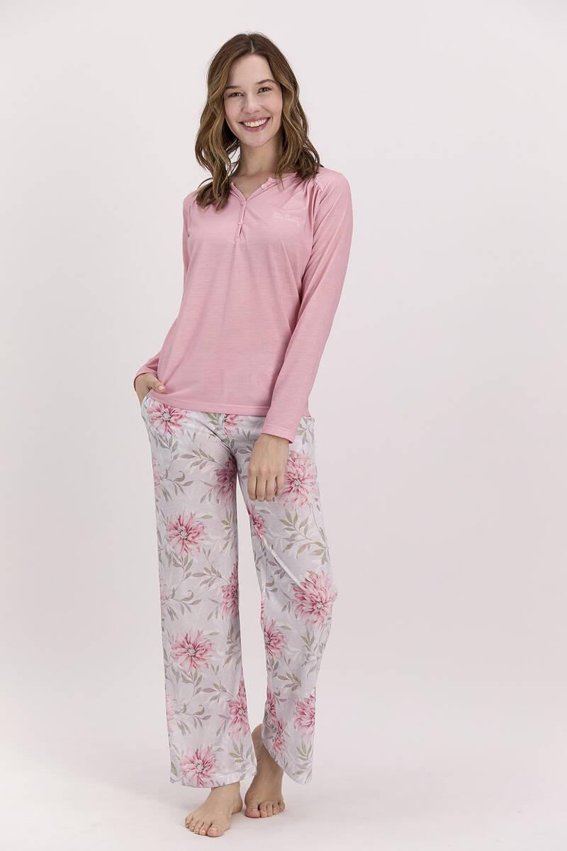 Pierre Cardin - Pierre Cardin Çiçekli Açık Pembe Kadın Pijama Takımı