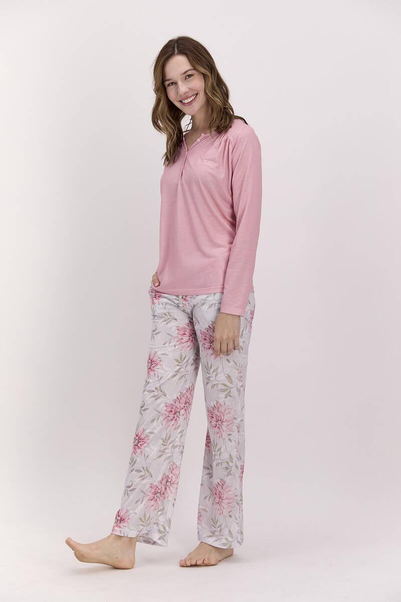 Pierre Cardin - Pierre Cardin Çiçekli Açık Pembe Kadın Pijama Takımı (1)