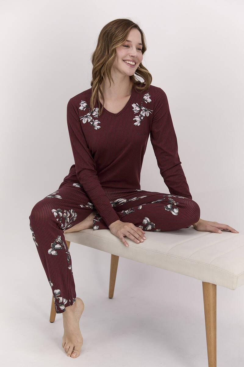 Pierre Cardin - Pierre Cardin Çiçekli Bordo Kadın Pijama Takımı (1)