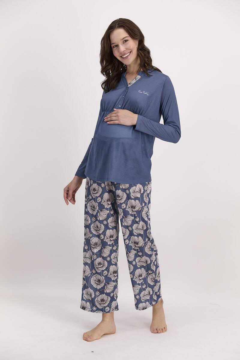 Pierre Cardin - Pierre Cardin Çiçekli İndigo Kadın Geniş Paça Lohusa Pijama Takımı