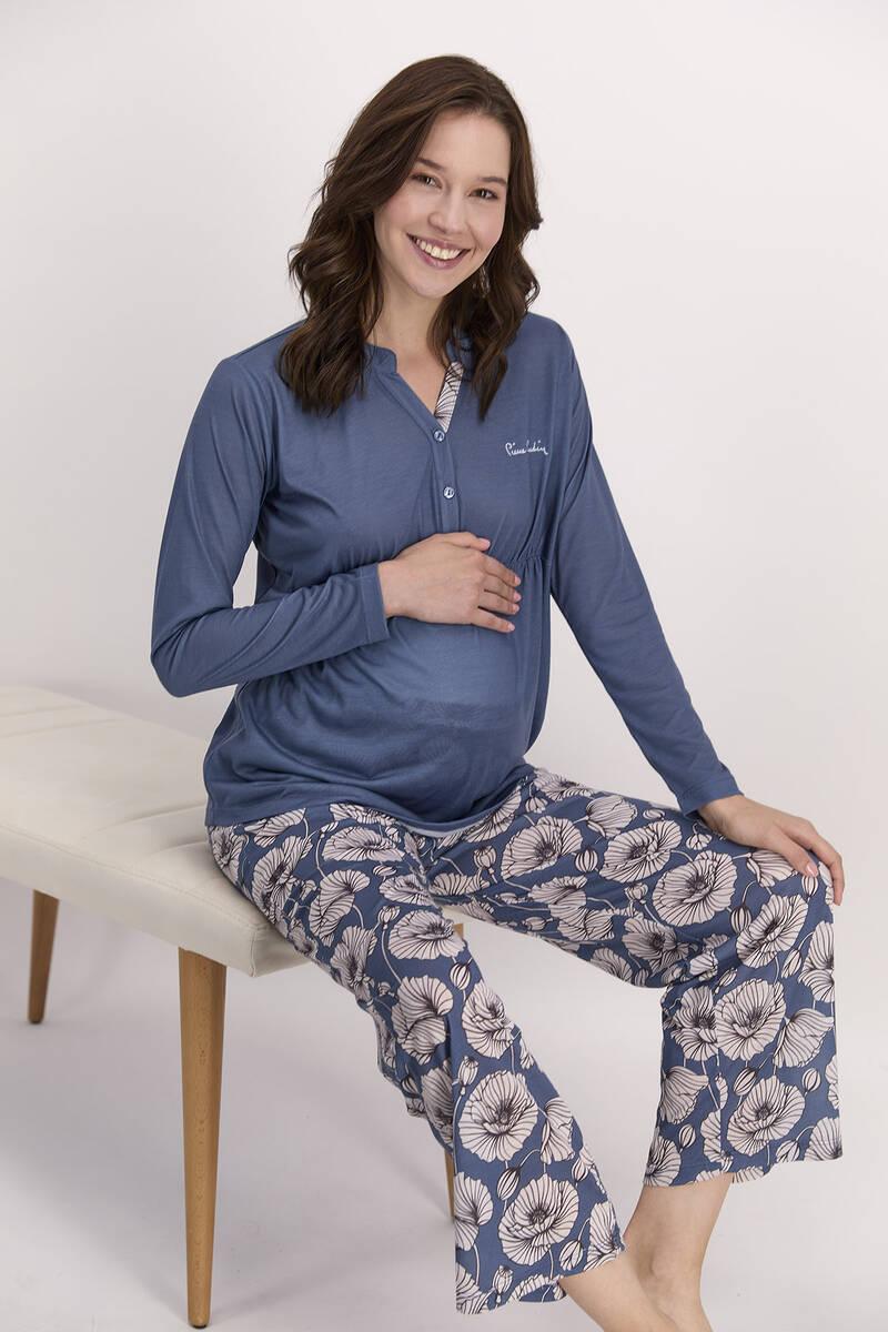 Pierre Cardin - Pierre Cardin Çiçekli İndigo Kadın Geniş Paça Lohusa Pijama Takımı (1)