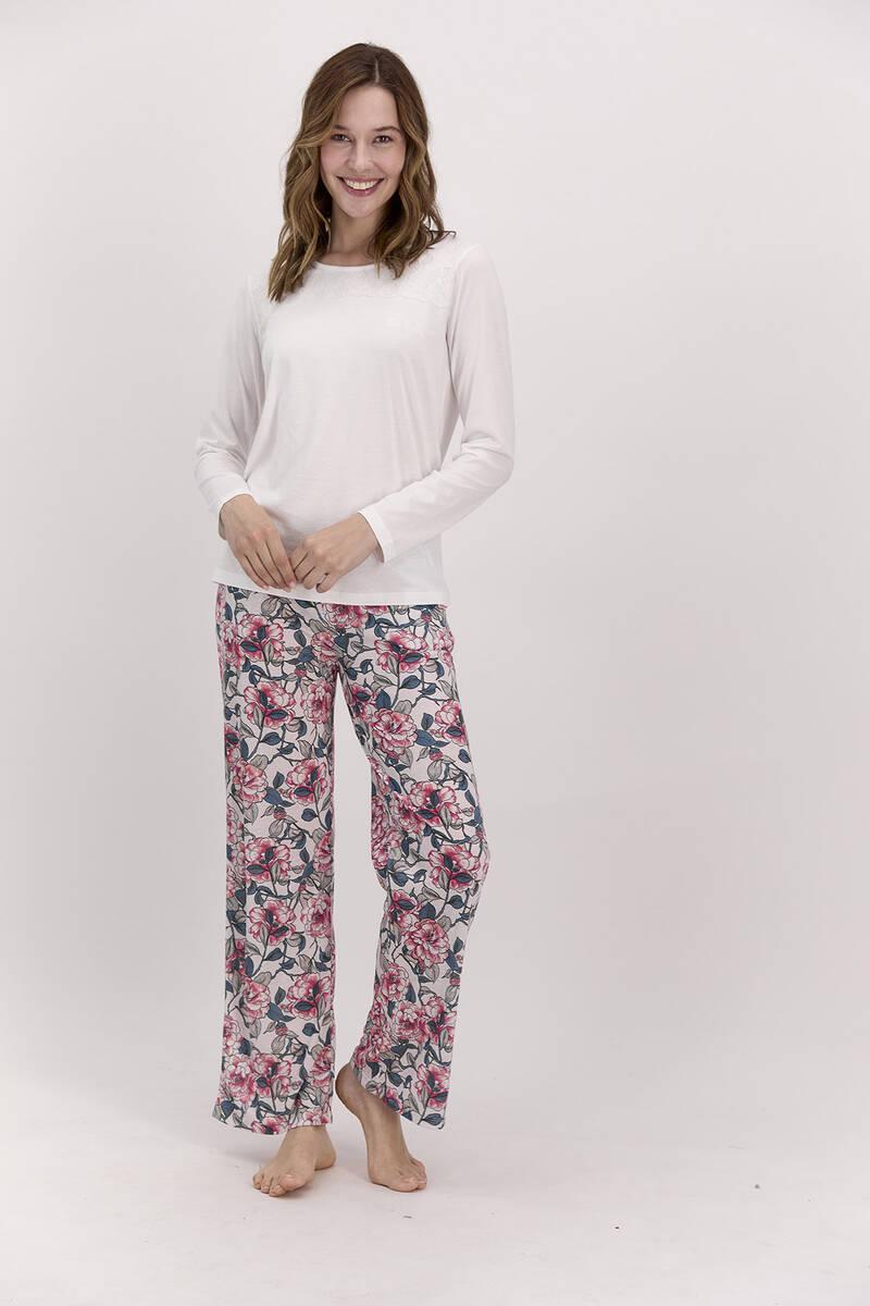 Pierre Cardin - Pierre Cardin Çiçekli Krem Kadın Pijama Takımı