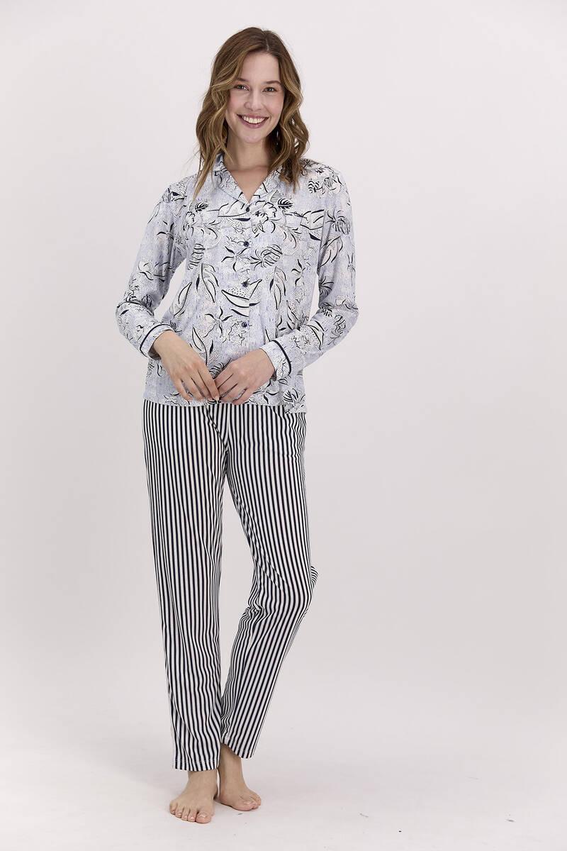 Pierre Cardin - Pierre Cardin Çiçekli Lacivert Kadım Gömlek Pijama Takımı