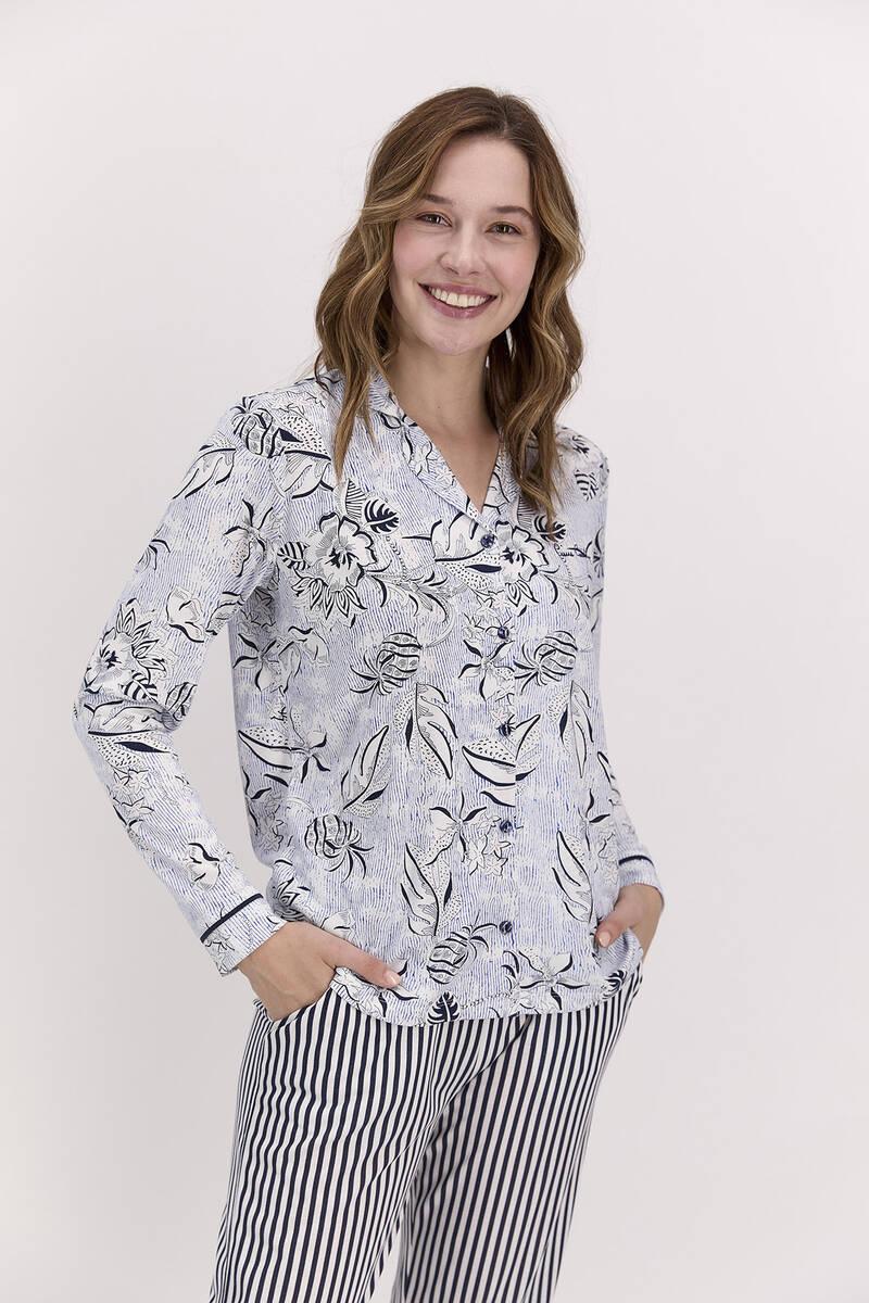 Pierre Cardin - Pierre Cardin Çiçekli Lacivert Kadım Gömlek Pijama Takımı (1)