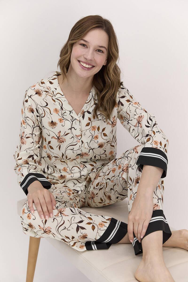 Pierre Cardin - Pierre Cardin Çiçekli Mocha Kadın Gömlek Pijama Takımı (1)