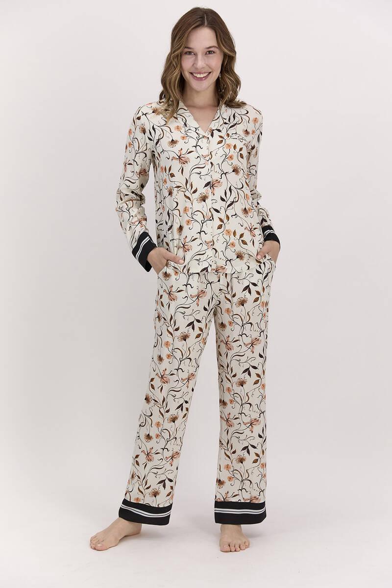 Pierre Cardin - Pierre Cardin Çiçekli Mocha Kadın Gömlek Pijama Takımı