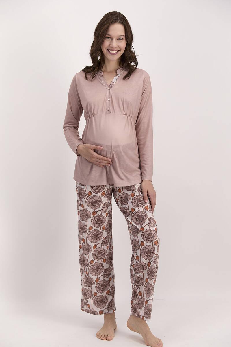 Pierre Cardin - Pierre Cardin Çiçekli Vizon Kadın Geniş Paça Lohusa Pijama Takımı (1)