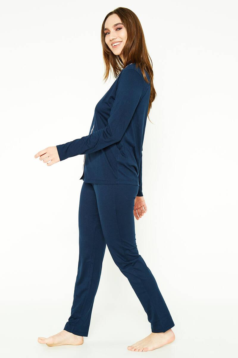 Pierre Cardin - Pierre Cardin Classic Lacivert Kadın Gömlek Pijama Takımı (1)