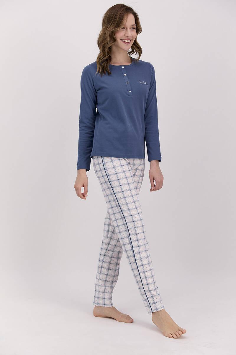 Pierre Cardin - Pierre Cardin Ekoseli Açık İndigo Kadın Uzun Kol Pijama Takımı