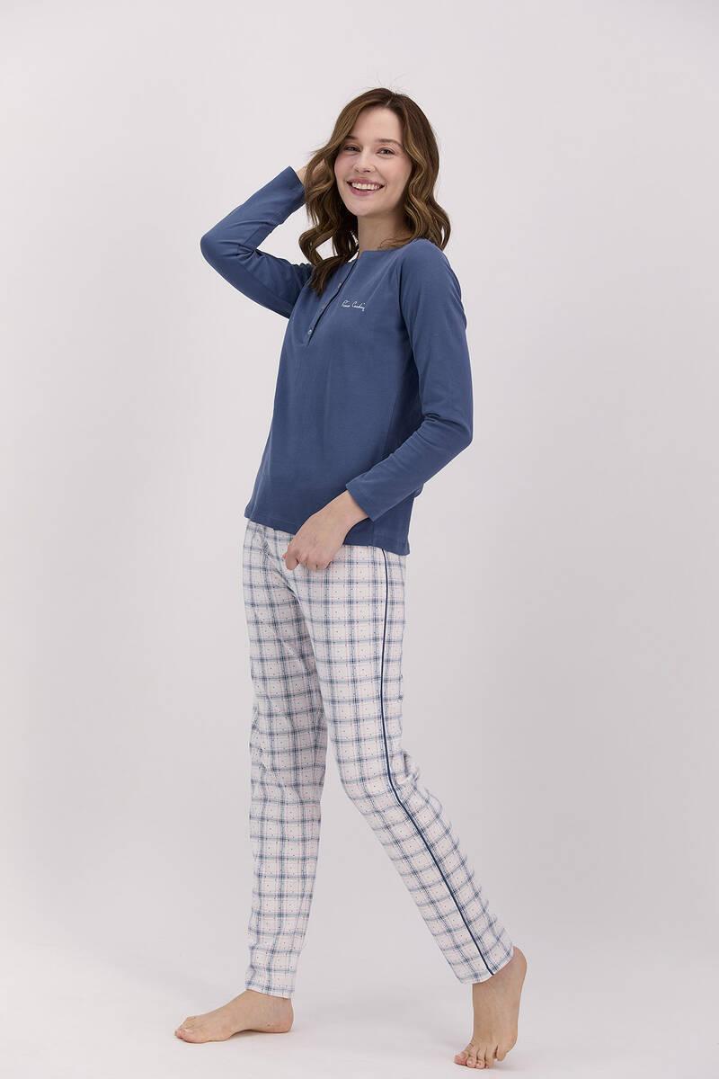 Pierre Cardin - Pierre Cardin Ekoseli Açık İndigo Kadın Uzun Kol Pijama Takımı (1)