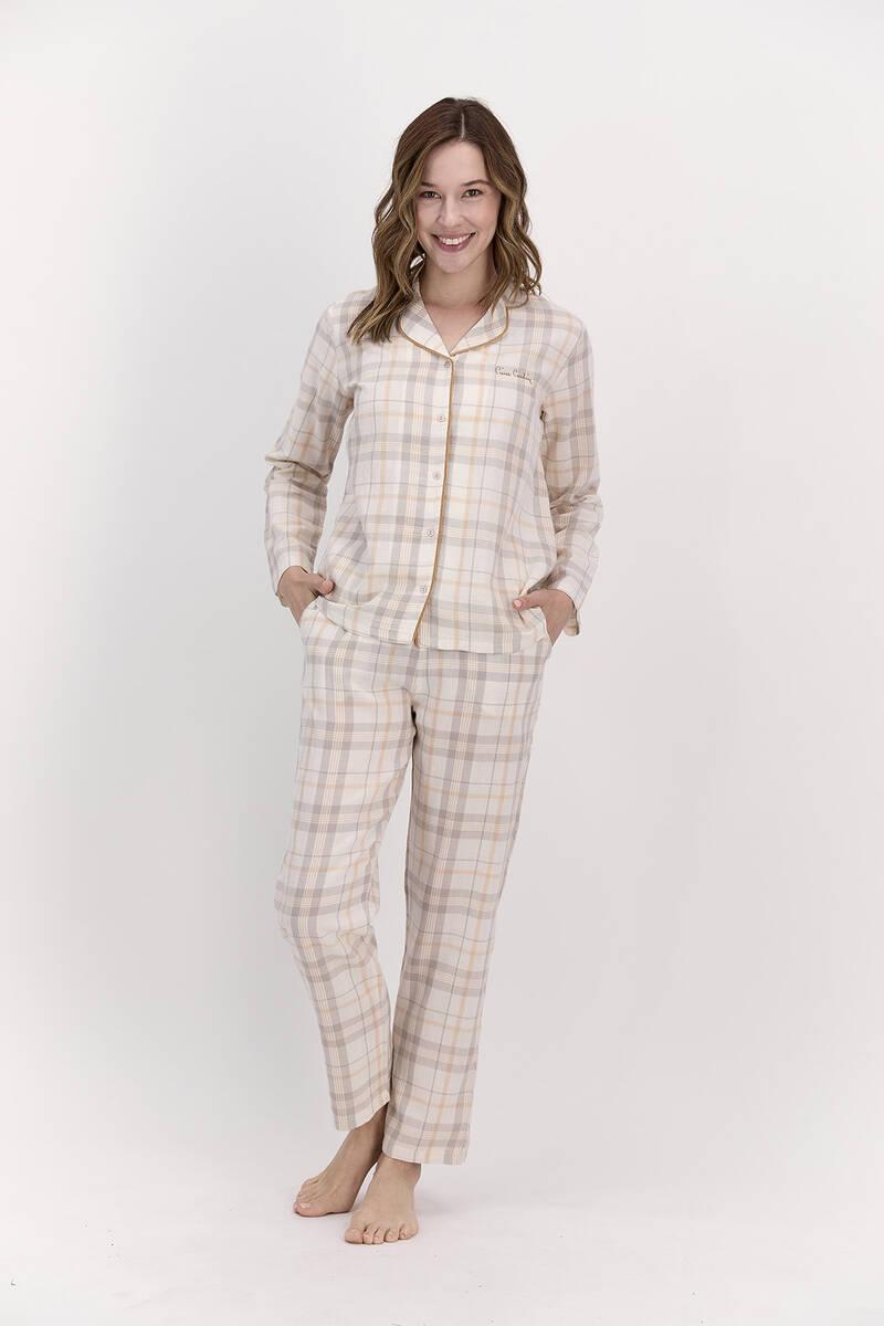 Pierre Cardin - Pierre Cardin Ekoseli Kremmelanj Kadın Gömlek Pijama Takımı