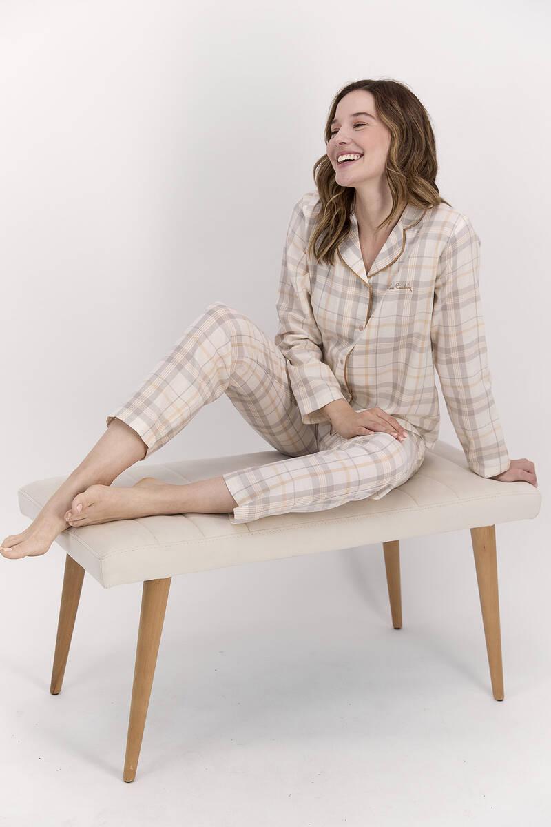Pierre Cardin - Pierre Cardin Ekoseli Kremmelanj Kadın Gömlek Pijama Takımı (1)