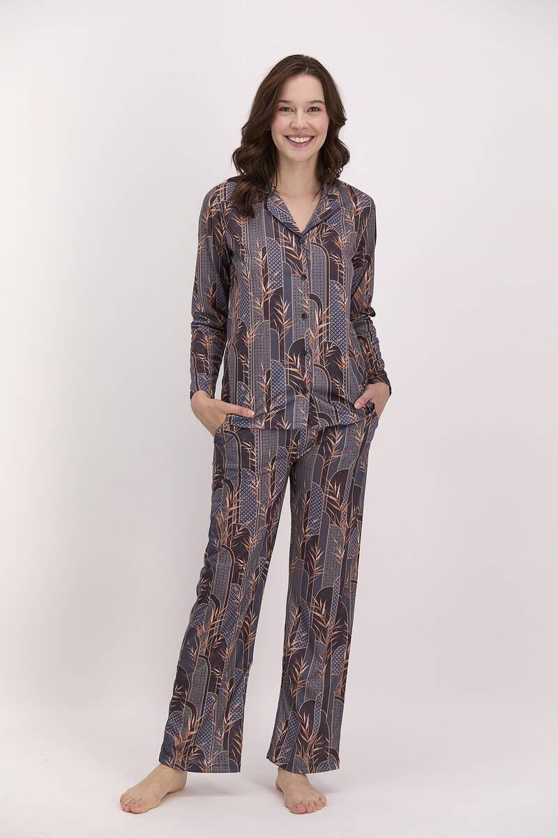 Pierre Cardin - Pierre Cardin Etnik Desenli Siyah Kadın Gömlek Pijama Takımı