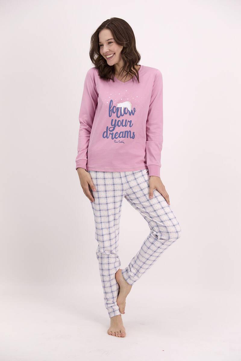 Pierre Cardin - Pierre Cardin Follow Your Dreams Açık Gül Kurusu Pijama Takımı (1)