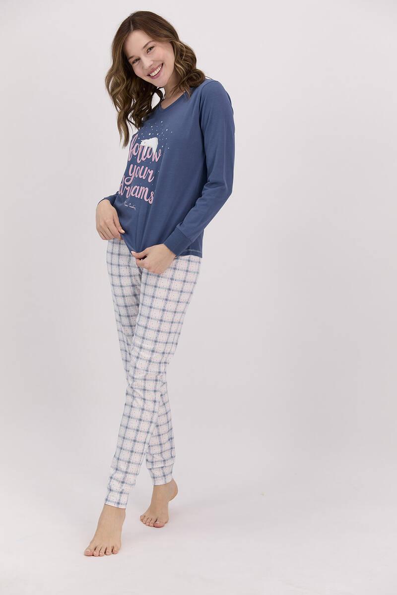 Pierre Cardin - Pierre Cardin Follow Your Dreams Açık İndigo Pijama Takımı