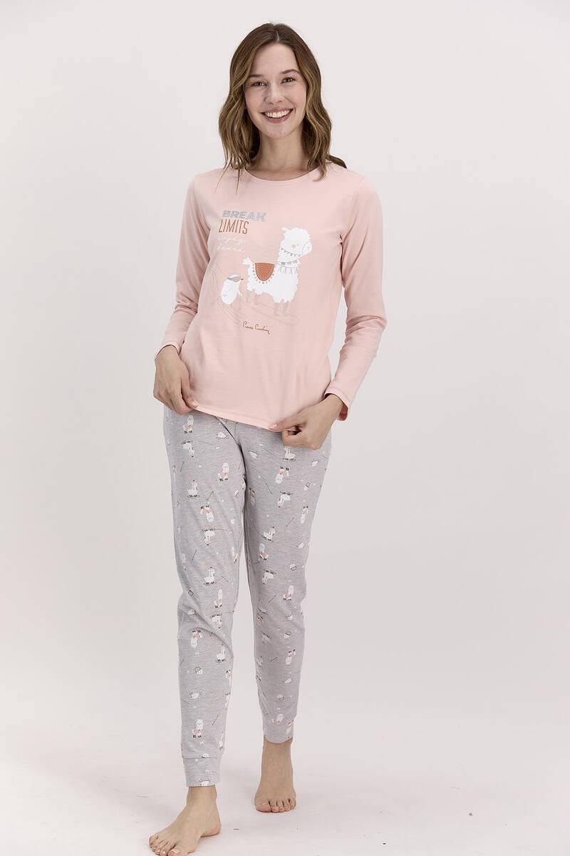 Pierre Cardin - Pierre Cardin Limits Pudra Kadın Uzun Kol Pijama Takımı