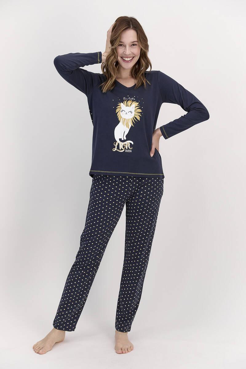 Pierre Cardin - Pierre Cardin Lion Queen Lacivert Kadın Pijama Takımı (1)