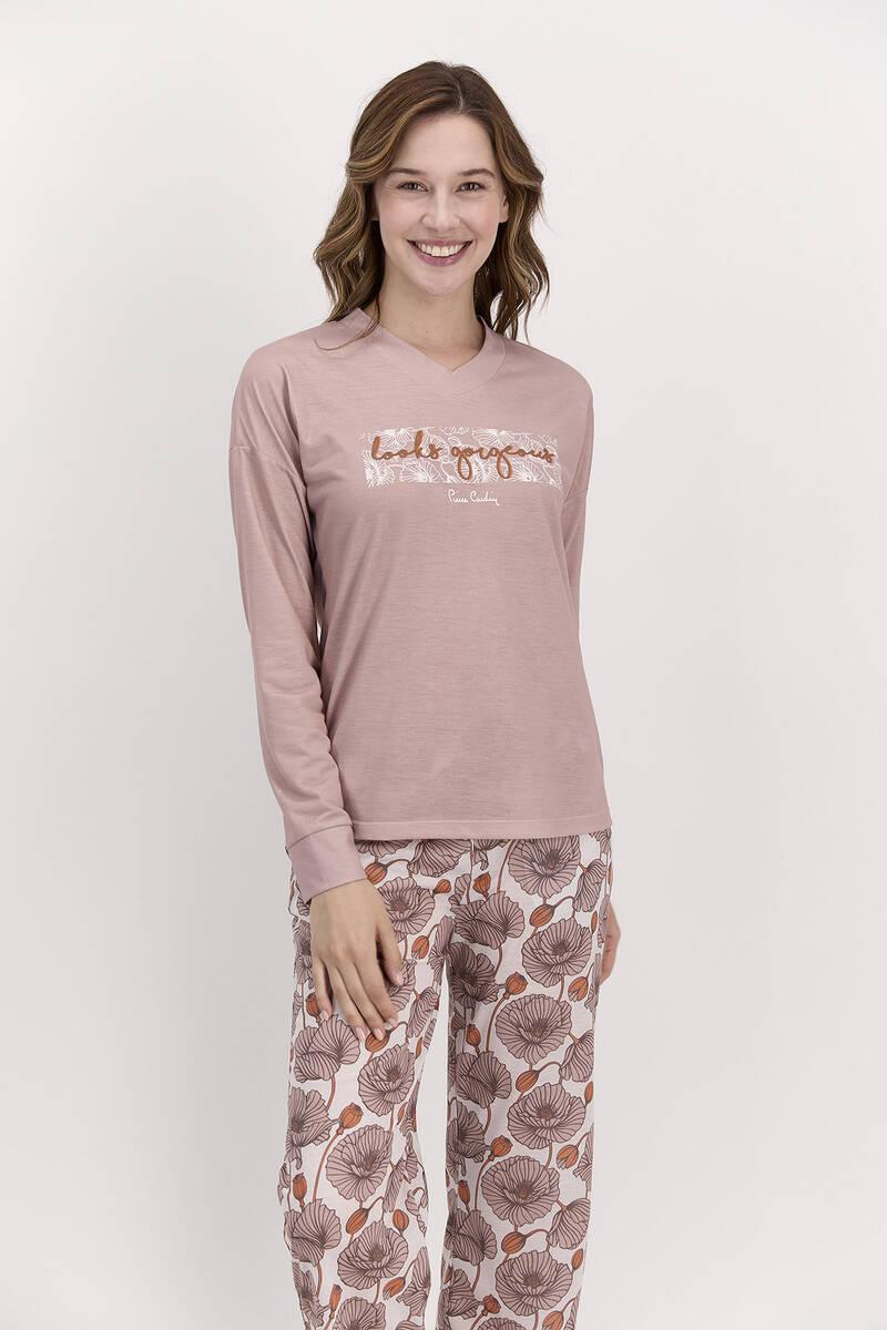 Pierre Cardin - Pierre Cardin Looks Gorgeous Vizon Kadın Pijama Takımı (1)