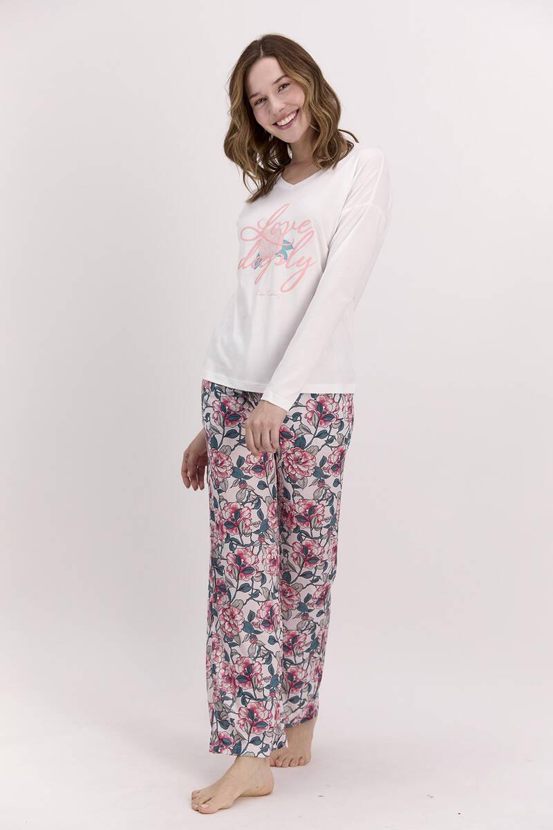 Pierre Cardin - Pierre Cardin Love Deeply Krem Kadın Pijama Takımı
