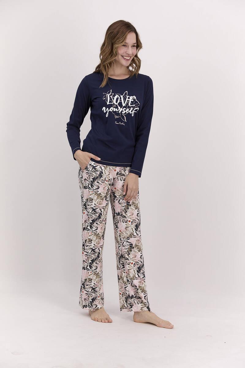 Pierre Cardin - Pierre Cardin Love Yourself Lacivert Kadın Pijama Takımı