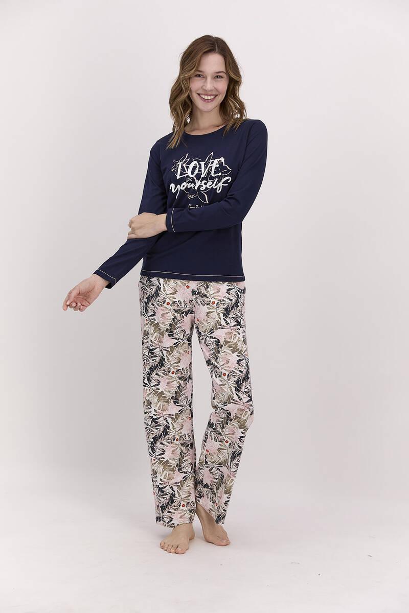 Pierre Cardin - Pierre Cardin Love Yourself Lacivert Kadın Pijama Takımı (1)
