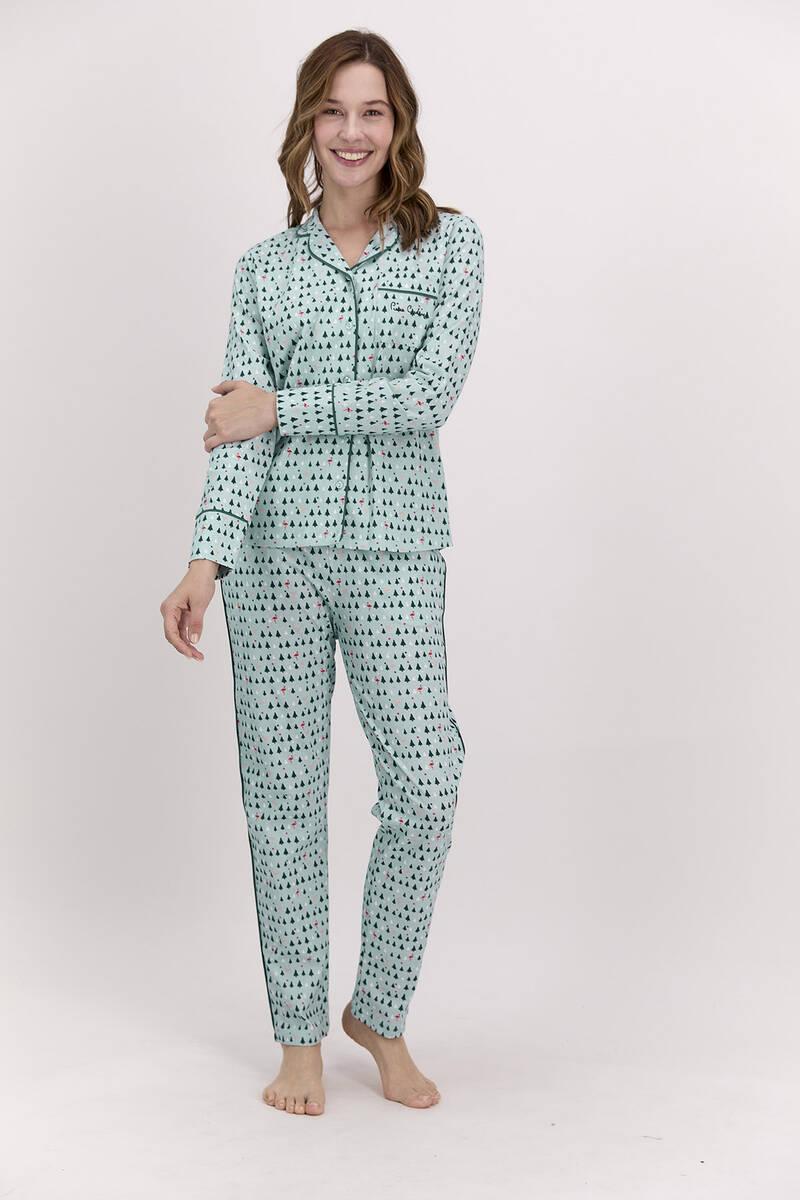 Pierre Cardin - Pierre Cardin New Year Koyu Haki Kadın Gömlek Pijama Takımı