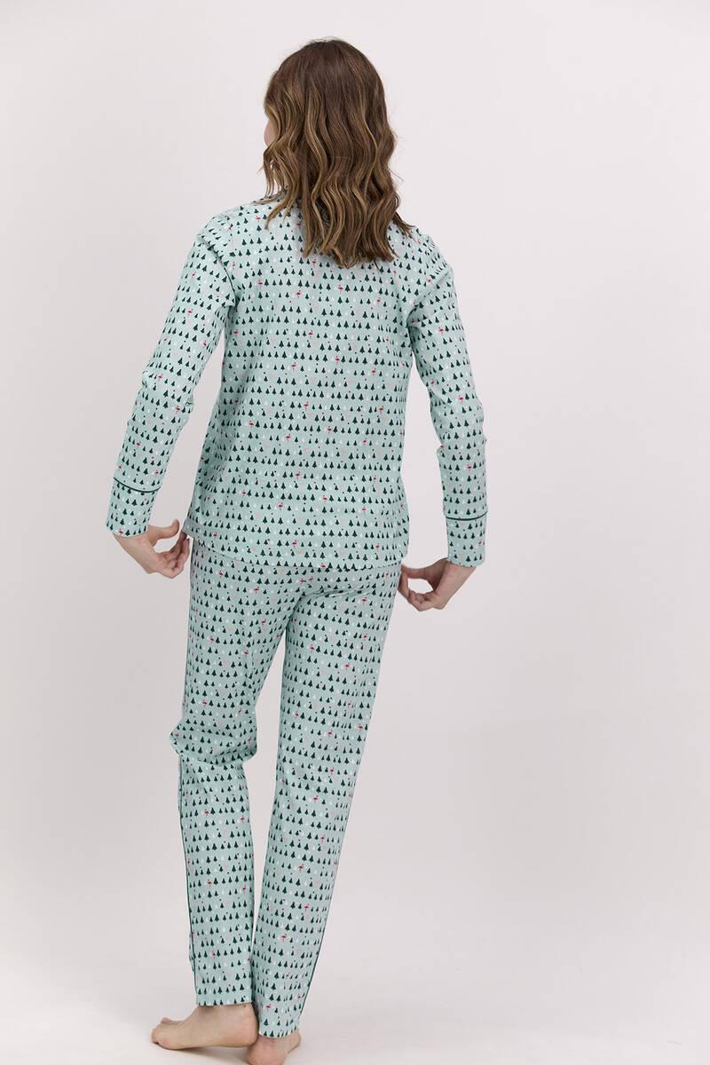 Pierre Cardin - Pierre Cardin New Year Koyu Haki Kadın Gömlek Pijama Takımı (1)