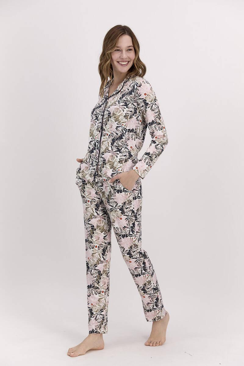 Pierre Cardin - Pierre Cardin Yaprak Desenli Toz Pembe Kadın Gömlek Pijama Takımı