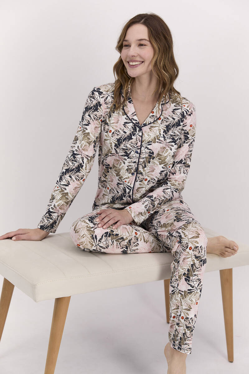 Pierre Cardin - Pierre Cardin Yaprak Desenli Toz Pembe Kadın Gömlek Pijama Takımı (1)