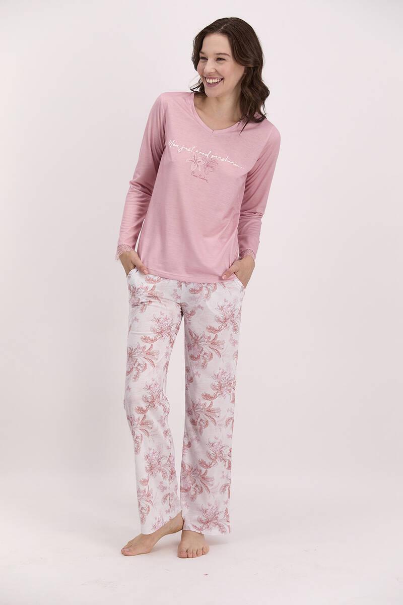 Pierre Cardin - Pierre Cardin You Just Need Sunshine Açık Gül Kurusu Kadın Pijama Takımı