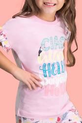 RolyPoly Aloha Pembe Kız Çocuk Bermuda Takım - Thumbnail