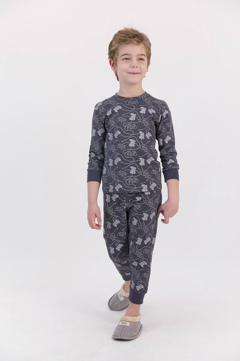 RolyPoly - RolyPoly Antrasit Erkek Çocuk Ribanalı Uzun Kol Pijama Takımı