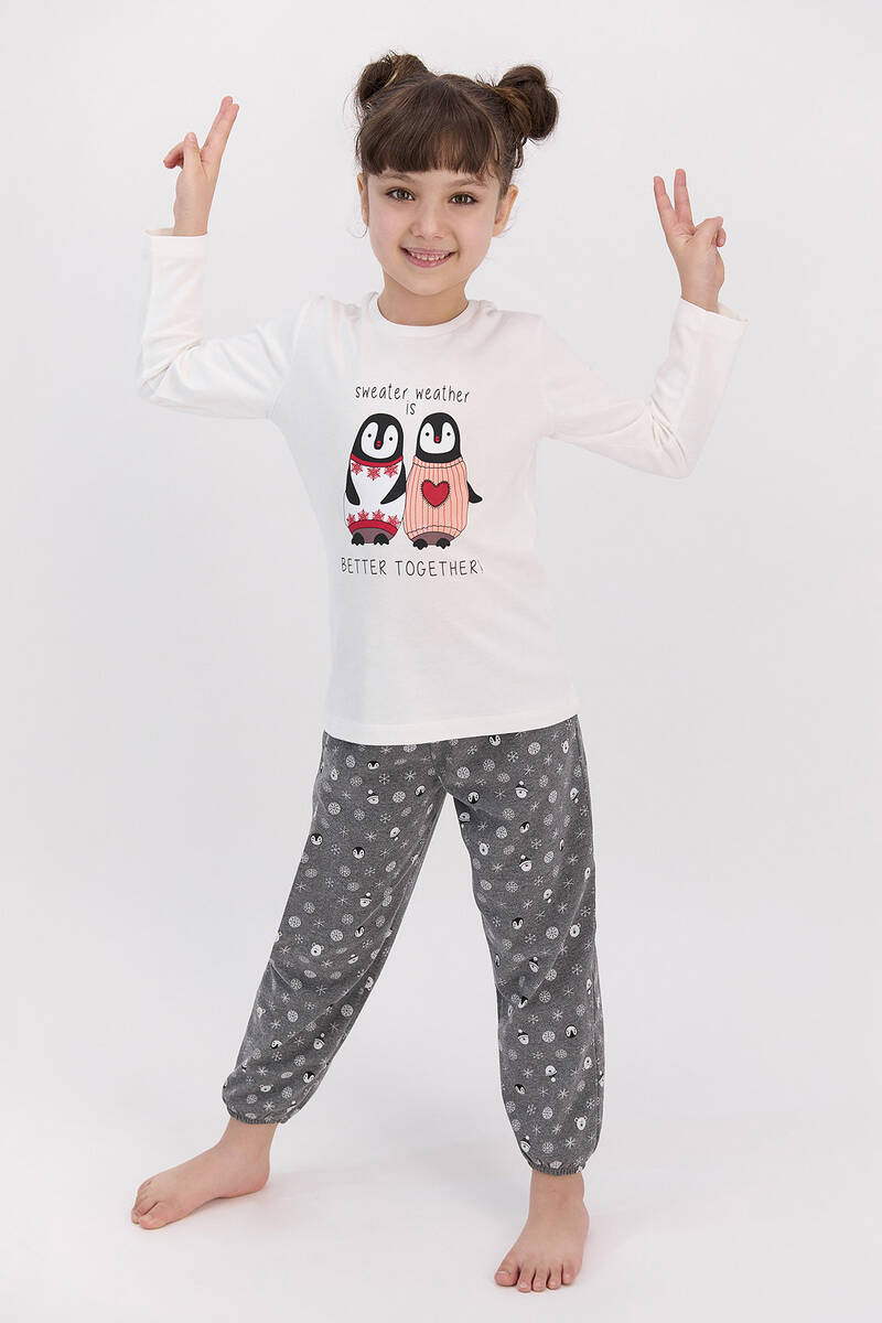 RolyPoly - RolyPoly Better Together Krem Kız Çocuk Pijama Takımı