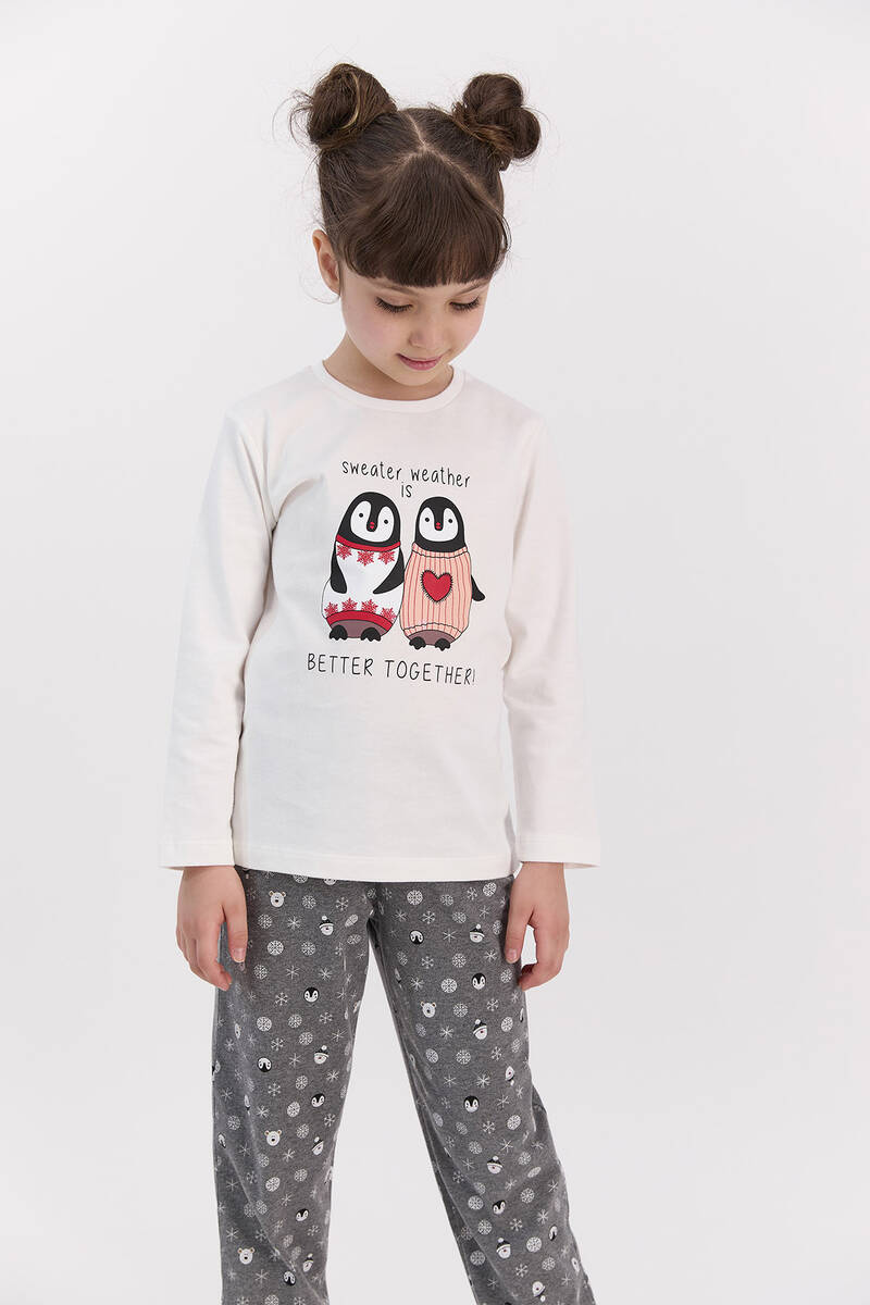 RolyPoly - RolyPoly Better Together Krem Kız Çocuk Pijama Takımı (1)
