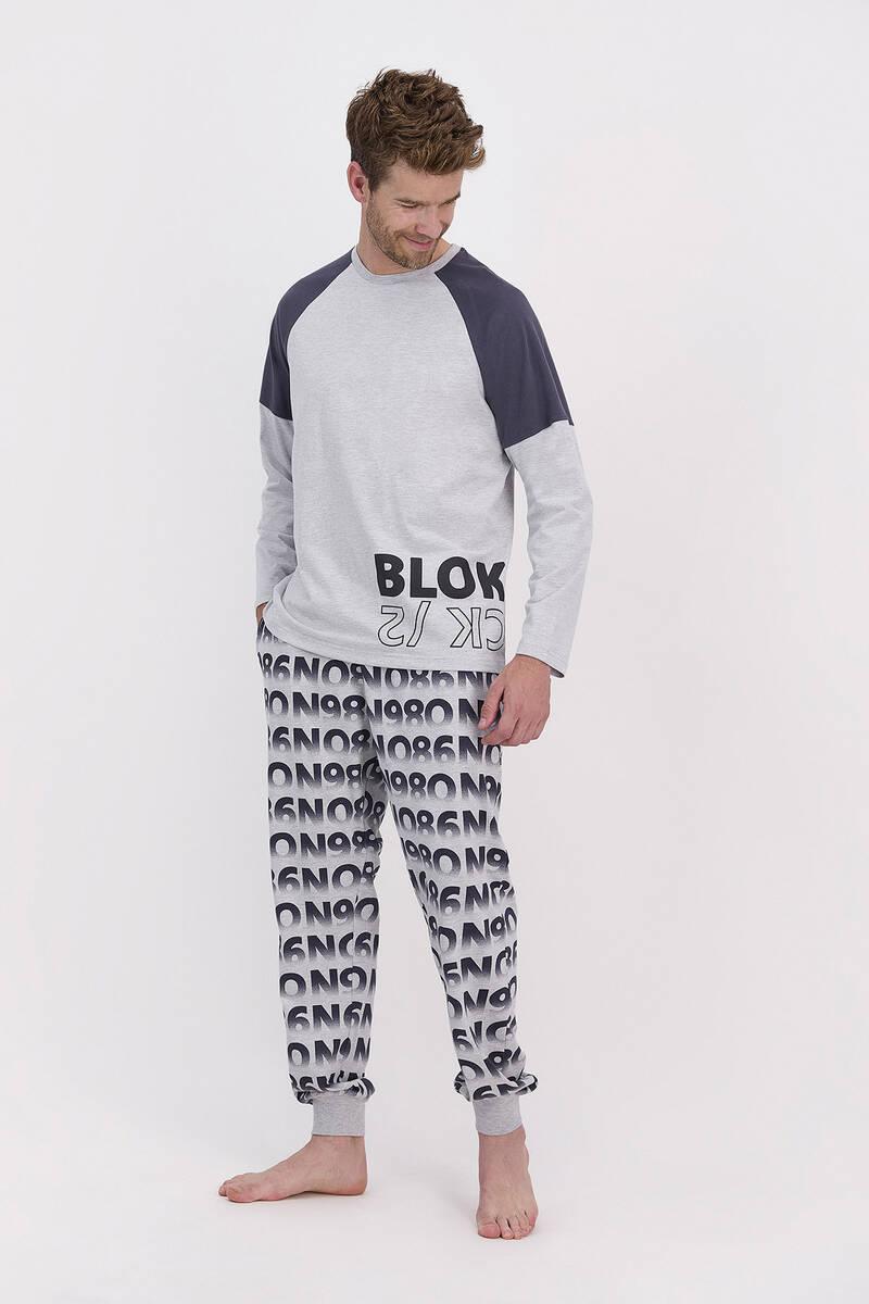 RolyPoly - RolyPoly Blok Grimelanj Erkek Pijama Takımı